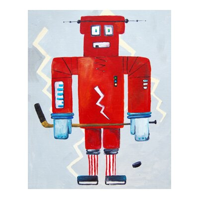 CiCi Art Factory Patchwork Bom Loves Hockey Robot Canvas Print by Liz Clay
