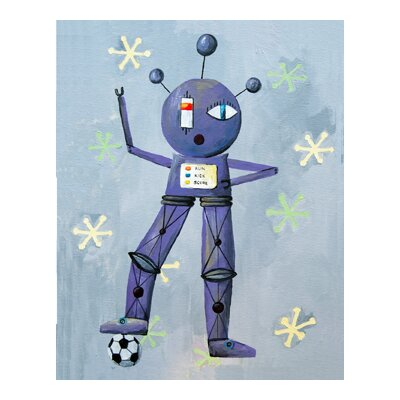 Patchwork Newton Loves Soccer Robot Canvas Print