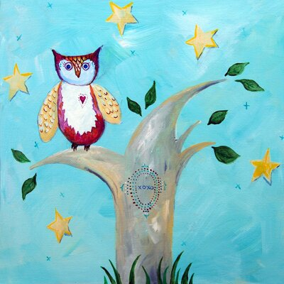 Patchwork Night Owl Paper Print