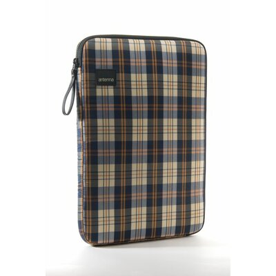 Antenna Plaid Laptop Sleeve in Navy / Beige