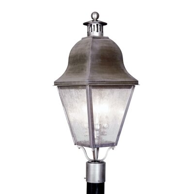 Livex Lighting Amwell  Outdoor Post Lantern in Vintage Pewter