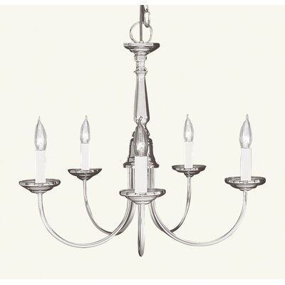 Livex Lighting Chandelier with Frosted Ribbed Glass in Brushed Nickel