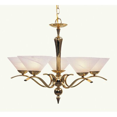 Nouveau Chandelier in Polished Brass
