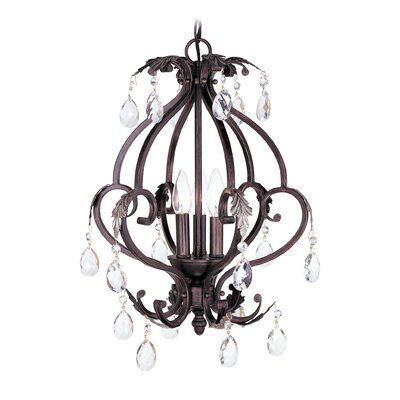 Iron and Crystal Mini Chandelier in Hand Rubbed Bronze