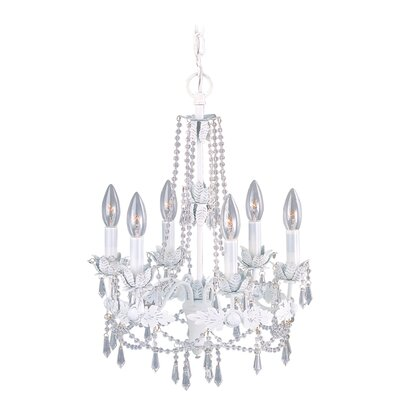 Athena Six Light Chandelier in Antique White