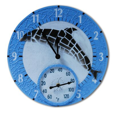 "Taylor Mosaic Dolphin Outdoor 14"" Clock/Thermometer"