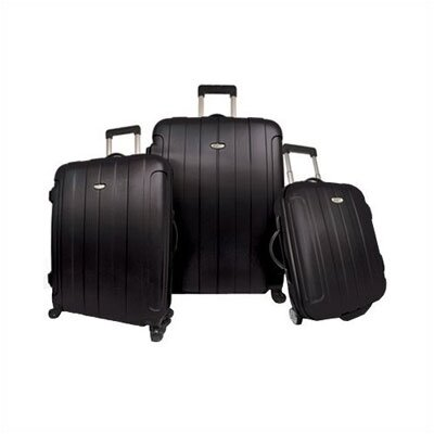 Traveler's Choice Rome 3 Piece Hard-shell Spinning/Rolling Luggage Set in Black