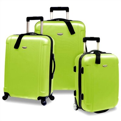 Traveler's Choice Freedom 3pc Lightweight Hard Shell Spinning/Rolling Travel Collection in Apple Green