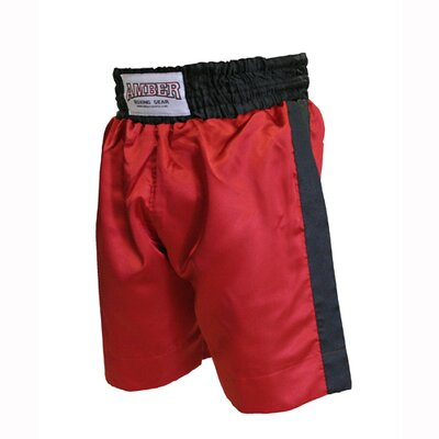 Boys Boxing Shorts in Red with Black Trim