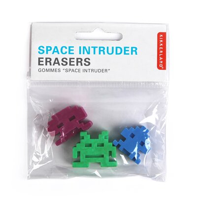 Kikkerland Space Intruder Erasers (Set of 3)