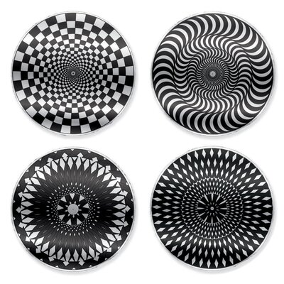 Kikkerland Moire Coaster in Black/White