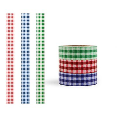 Kikkerland Washi Plaid Masking Tape (Set of 3)