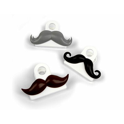 Kikkerland Mustache Bag Clips (Set of 3)