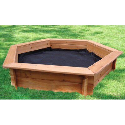 "Swing Town 51"" Hexagonal Sand Box with Rain Cover & Lining"