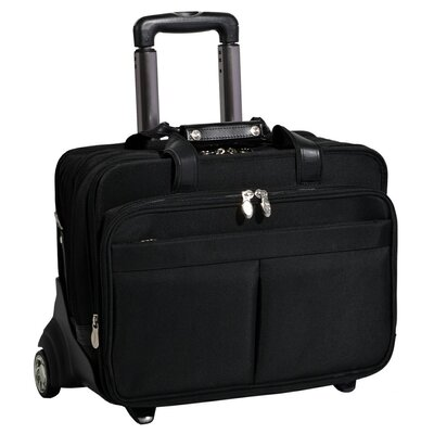 R Series Roosevelt Nylon 2-in-1 Removable-Wheeled Laptop Case in Black