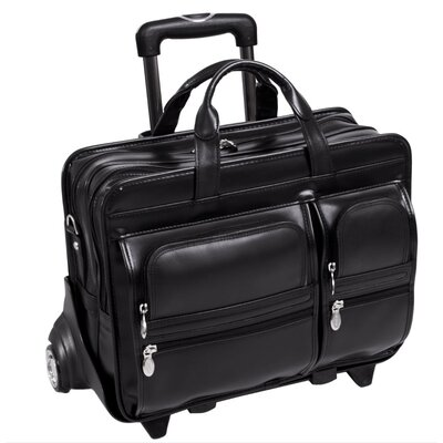"McKlein USA P Series Clinton Leather 17"" Detachable - Wheeled Laptop Case in Black"