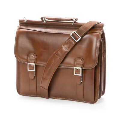 McKlein USA V Series Halsted Leather Flapover Double Compartment Laptop Briefcase