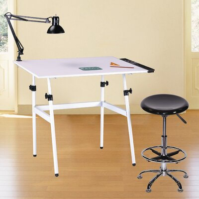 Martin Universal Design Berkeley Classic Premier 4 Piece Melamine Drafting Table Set with Stool