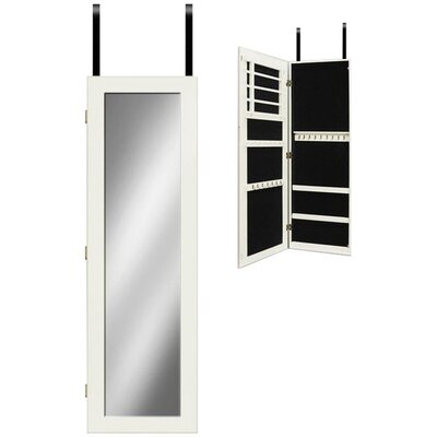 Mirrotek Mirror Jewelry Armoire-Over the Door in White