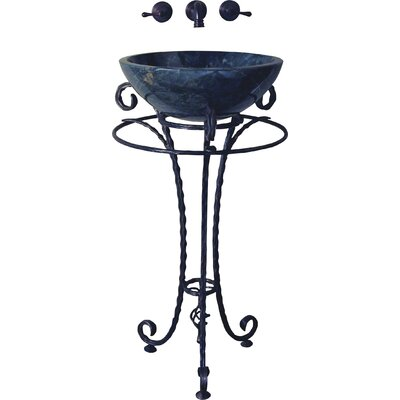 Olde World Santa Maria Forged Iron Pedestal Semi-Recessed Vessel Bathroom Sink Set - ST-SNTMR