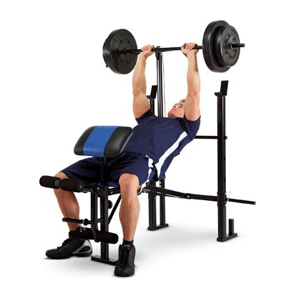 Marcy Standard Weight Adjustable Olympic Bench With 120 Lb Weight Set Reviews Wayfair