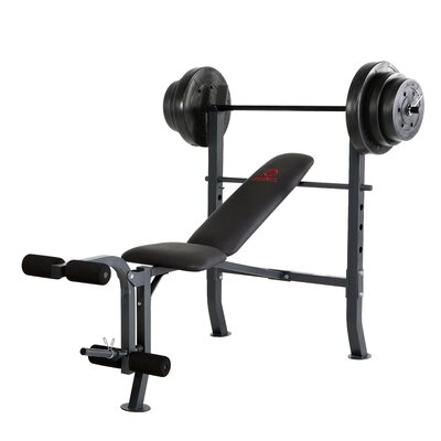 Marcy Mid-Width Weight Flat / Incline / Decline Olympic Bench with 100 lbs Weight Set