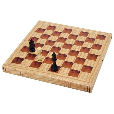 Wood Expressions Book-Style Folding Chess Set in Oak