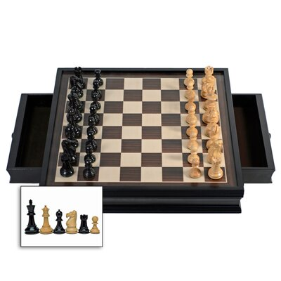 Wood Expressions Stained Chess Set with Drawers in Black