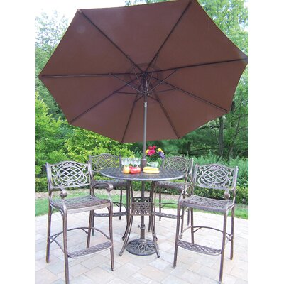 Oakland Living Elite Mississippi Bar Height Dining Set with Umbrella