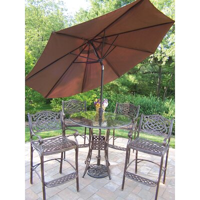 Oakland Living Hummingbird Mississippi Bar Height Dining Set with Umbrella