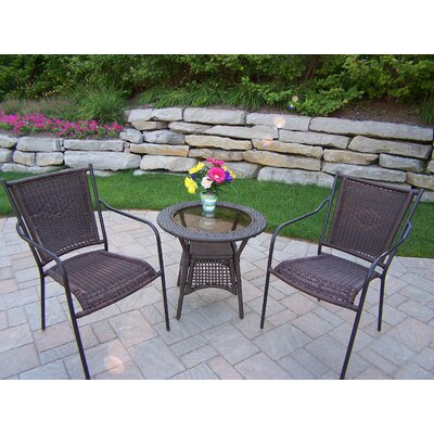 Oakland Living Resin Wicker 3 Piece Lounge Seating Group