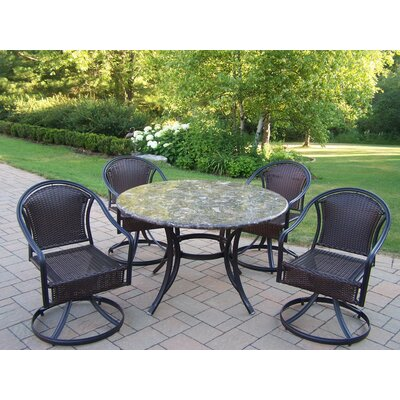 Oakland Living Stone Art 5 Piece Tuscany Swivel Dining Set