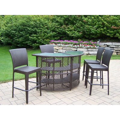 Oakland Living Elite Resin Wicker Half Round Bar Set