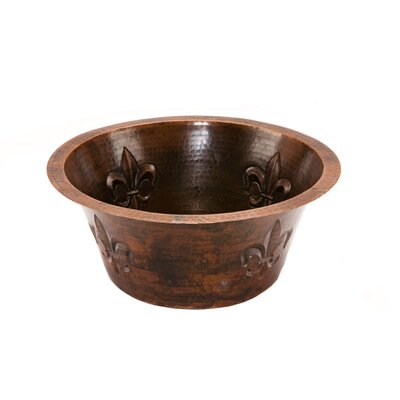 "Premier Copper Products Fleur De Lis 16"" x 16"" Round Copper Bar Sink"