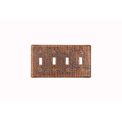 Premier Copper Products Copper Switchplate Quadruple Toggle Switch Cover
