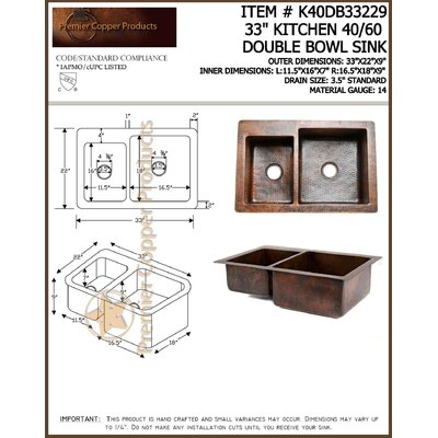 "Premier Copper Products 33"" Copper Hammered 40/60 Double Bowl Kitchen Sink in Oil Rubbed Bronze"