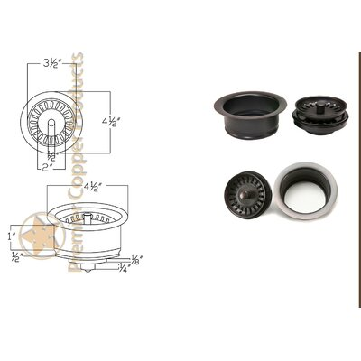 "Premier Copper Products 3.5"" Deluxe Garbage Disposal Lift-Turn Kitchen Sink Drain"