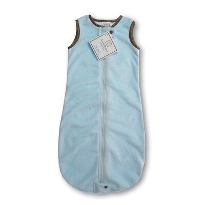 Swaddle Designs zzZipMe Sack in Pastel Blue Baby Velvet Solid Pastel with Mocha Trim