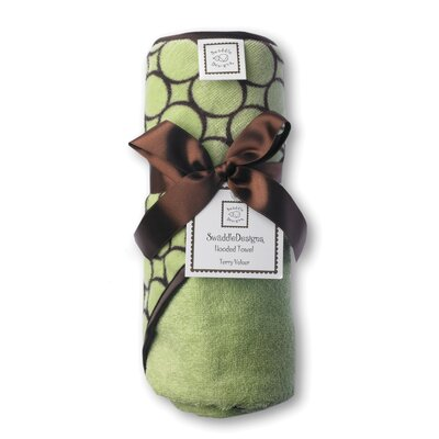 Swaddle Designs Terry Velour Hoodie Towel in Pastel Lime with Brown Mod Circles