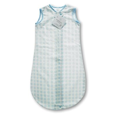 Swaddle Designs Certified Organic Cotton Flannel zzZipMe Sack in Pastel Blue with Dots and ...