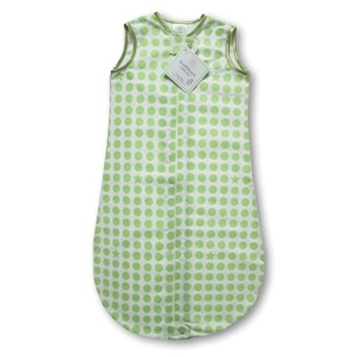 Swaddle Designs Certified Organic Cotton Flannel zzZipMe Sack in Kiwi with Dots and Stars