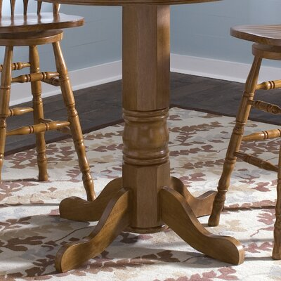 Liberty Furniture Nostalgia Casual Dining 5 Piece Round Pub Table Set with Press Back Barstools in Medium Oak