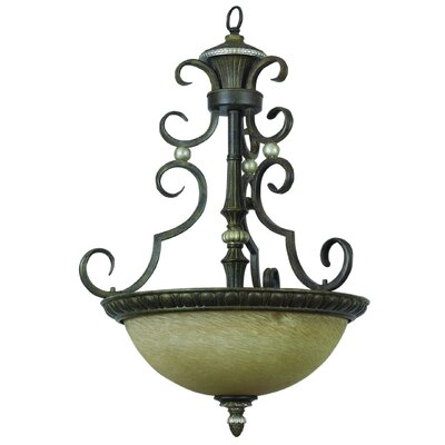 Yosemite Home Decor Mariposa 3 Light Foyer Inverted Pendant