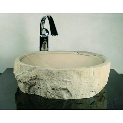 Yosemite Home Decor Demtera Hand Carved Rough Cut Round Vessel Bathroom Sink