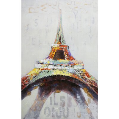 Revealed Artwork Eiffel in Color Original Painting on Canvas