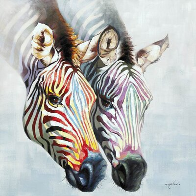 Revealed Artwork Zebras in Color Painting Print on Canvas