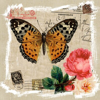 Revealed Artwork Butterfly and Rose I Canvas Wall Art
