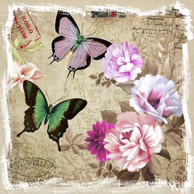 Revealed Artwork Butterflies and Flowers II Canvas Wall Art