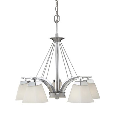 Vaxcel Kendall 5 Light Chandelier with Opal Glass