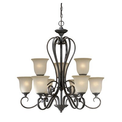 Vaxcel Riviera 9 Light Chandelier